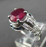 Antique Wide 2.37ctw Aaa Ruby And Sapphire 14kt White Gold Engagement Ring 22129