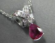 Antique 1.11ct Diamond And Ruby 14k White Gold Pear Shape Pendant Stunning 18421