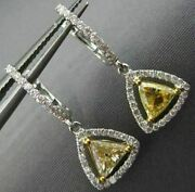1.43ct White And Fancy Yellow Diamond 18kt Gold Trillion Halo Hanging Earrings