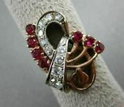 Antique Large 1.2ct Old Mine Diamond And Aaa Ruby 14k White And Rose Gold Ring 22916