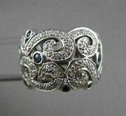 Antique 1.05ctw Sapphire Diamond 14kt White Gold Wide Filigree Band Ring 20399