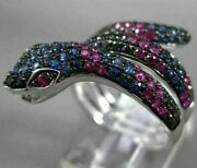 Estate Large 2.6ct Black Diamond And Aaa Sapphire And Ruby 14k White Gold Snake Ring