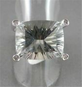 Estate Wide 20.60ctw Aaa Green Amethyst And Diamond 14kt White Gold Ring Amazing