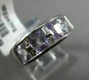 Estate Wide 2.76ct Baguette Diamond And Amethyst 14kt White Gold Mens Pinky Ring