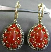 Estate .92ct Diamond And Red Agate 14kt Yellow Gold 3d Filigree Hanging Earrings