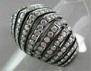 Antique 18kt Wide Filigree Pyramid 3d 2.35ct Black And White Diamonds Gold Ring