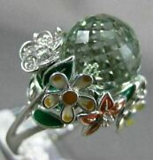 Extra Large 14.14ct Diamond Aaa Green Amethyst And Enamel 18kt White Gold Fun Ring