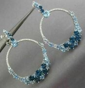 Large .74ct Diamond And Aaa Aquamarine Blue Topaz 14kt White Gold Hanging Earrings