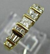 .90ct Round Baguette And Princess Diamond 14k Yellow Gold Anniversary Ring 1586