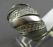 Estate Large 1ct Diamond 14kt White Gold 3d Matte And Shiny Multi Row Dome Ring