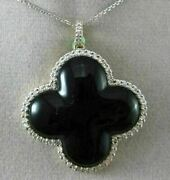 Estate Large .90ct Diamond And Onyx 18k 2 Tone Gold 3d Clover Floating Pendant