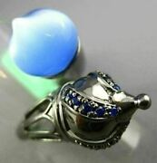 Estate Large 10.25ct Aaa Sapphire And Blue Agate 18kt Black Gold Aladdin Love Ring