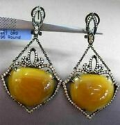 Antique Massive 39.38ct Diamond And Agate 14k Black Gold Filigree Hanging Earrings