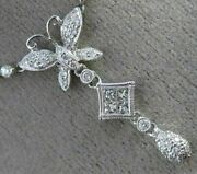 Estate 1.12ct Diamond 18kt White Gold 3d Butterfly By The Yard Floating Necklace