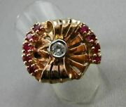 Antique Large 1.17ct Old Mine Diamond And Aaa Ruby 14kt Tri Color Gold Ring 20217
