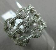 Estate Large 1.12ct Diamond 18kt White Gold Multi Row By The Yard Love Knot Ring