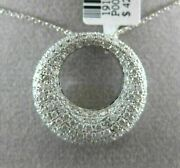 Estate Large 1.43ct Diamond 18k White Gold 3d Pave Star And Moon Floating Pendant