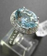 Antique 4.79ctw Diamond And Aaa Aquamarine 18kt White Gold Filigree Oval Ring