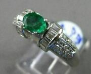 Antique 2.21ct Diamond And Aaa Colombian Emerald 18kt White Gold Engagement Ring