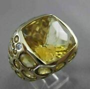 Estate Large 23.08ctw Diamond And Aaa Yellow Topaz 14kt Yellow Gold Etoile Ring