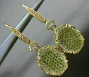 Estate Large 2.26ct Diamond And Topaz 18kt Yellow Gold 3d Oval Filigree Earrings