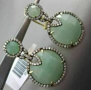 Estate Large .97ct Diamond And Green Agate 14kt Yellow Gold Halo Clip On Earrings