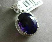Estate Large 8.40ct Diamond And Amethyst 14k White Gold Oval Halo Floating Pendant