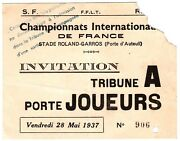 1937 May 28th Roland Garros Extremely Rare 83 Years Old Ticket