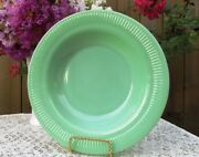 Rare Fire King Jade-ite Jadeite Jane Ray 9 Flat-rimmed Soup Bowl Mint
