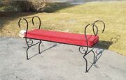 Vintage Mid Century Regency Revival Wrought Iron And Brass Scroll Arm Settee Bench
