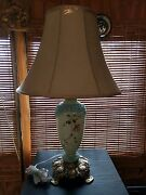 1890s Electric Table Lamp Milk Glass Hand Painted Totally Restored