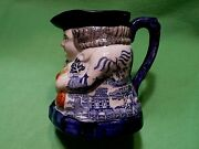 Antique 1800and039s Toby Pitcher With Rare Blue Chinoiserie Prophets Pagodas Pattern