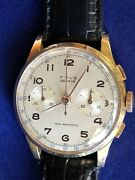 Titus Geneve Non Magnetic Chronograph Watch Genuine Black Leather Band 18k Gold