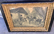 Antique Victorian Wall Picture With Unique Frame.....heavy...family Of Riders