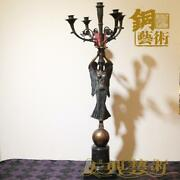 West Bronze Marble Angel Girl Raised Up Candlestick Candle Holders Statue