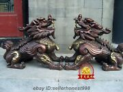 China Bronze Copper Feng Shui Avoid Evil Foo Dog Lion Brave Troops Chi-lin Pair