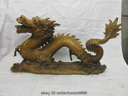 Length 24 Sign Daqing Bronze Copper Fly Dragon Chinese Royal Decor Statue