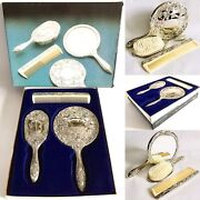 Boxed Vintage 1960s Heavy 3 Piece Silver Plated Brush Mirror And Comb Vanity Set