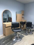 Mirrored Styling And Shampoo Stations, 2 Chairs, 2 Dryers, Cushioned Mats