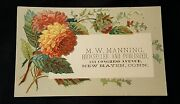 Victorian Trade Card M.w. Manning Bookseller Publisher New Haven Connecticut