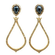6.22ct Real Pave Diamond Spinel 14k Solid Yellow Gold Dangle Earrings Jewelry By