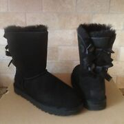 Ugg Short Bailey Bow Ii Black Water-resistant Suede Fur Boots Size Us 7 Womens