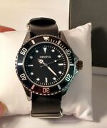 B099 Jcpennys Geneva Mens Watch Bold Black And White Faux Leather Band Vegan New