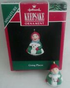 1992 Hallmark Going Places Miniature Ornament Little Boy Puppy Dog Sled Disc