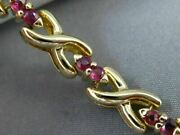 Antique Wide 1.30 Aaa Ruby 14k Yellow Gold 3d Classic X Love Bracelet 22665