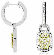 .90ct White And Fancy Yellow Diamond 14kt White Gold 3d Filigree Hanging Earrings
