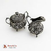 Repousse Creamer Covered Sugar Bowl Sterling Silver John W Mealy 1900