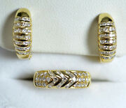 High Fashion 18k Yellow Gold Bright White Diamonds Channel Set Ring And Earrings