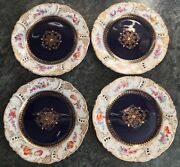 Set Of 4 Antique Nymphenburg Dresden Spray Porcelain Reticulated 5.75 Plates