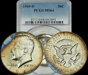 1969-d Kennedy Half Dollar Pcgs Ms64 Brown Purple Blue Toned Coin